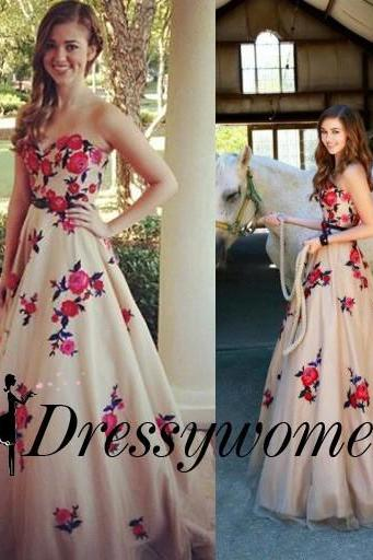 Elegant Zipper Sleeveless Princess Large size Homecoming Dress Floor-Length Strapless Flowers Dresses