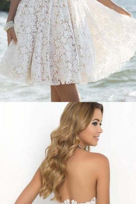 Backless Sleeveless Empire Large size Homecoming Dress Tea-length Sweetheart Lace Dresses