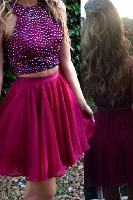 Short Backless Sleeveless Sheath Large size Homecoming Dress Short/Mini Round Beading Dresses