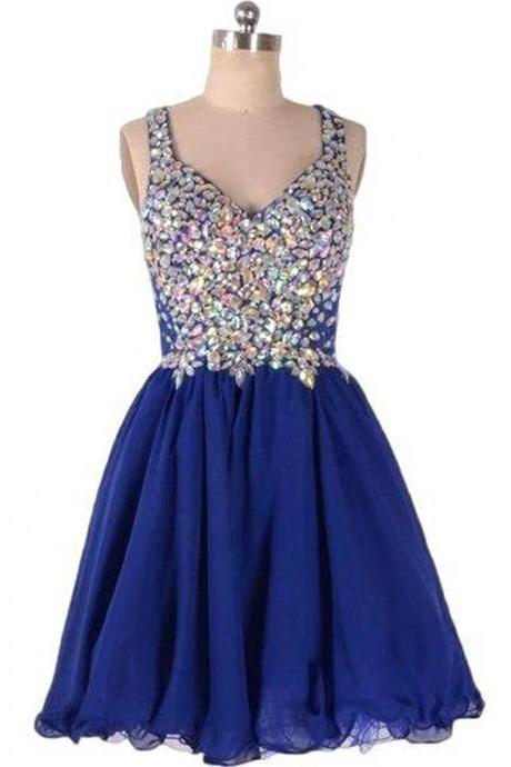 Short Sexy Zipper Sleeveless A-line Large size Homecoming Dress Short/Mini V-Neck Rhinestone Dresses