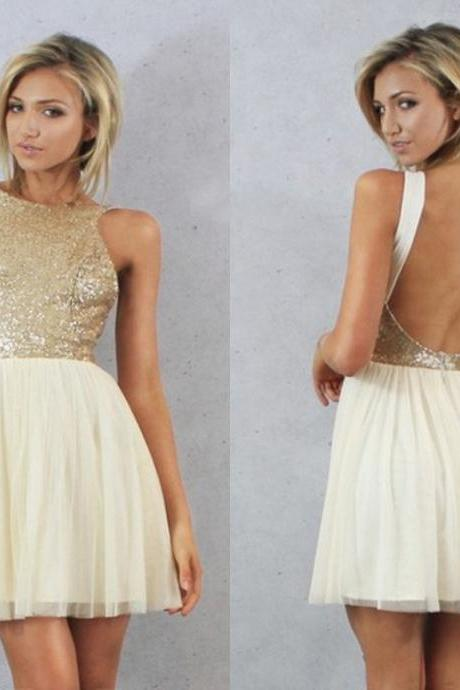 Short Backless Sleeveless A-line Large size Homecoming Dress Short/Mini Round Tulle Dresses