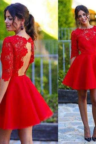 Short Backless 1/2 sleeves A-line Large size Homecoming Dress Short/Mini Round Lace Dresses